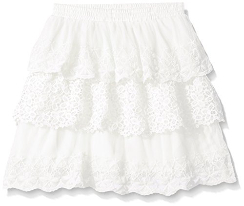My Michelle Big Girls Layered Lace Midi Skirt with Elastic Waistband, Ivory, Medium