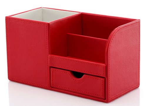 Kingfom™ Wooden Struction Leather Multi-Function Desk Stationery Organizer Storage Box Rose Red 1303 front-61104
