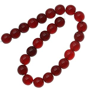 Czech Glass Druk 25-Piece Round Beads, 8mm, Ruby Red