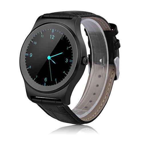 NeeCoo V3 - SmartWatch Reloj de Pulsera con HD Pantalla Redonda (Impermeable, Correa Adjustable de Cuero, Notificador de Llamadas / SMS, Monitor del Ritmo Cardíaco, Reconocimiento de Voz) (Negro)
