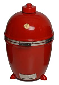 Grill Dome Infinity Series Ceramic Kamado Charcoal Smoker Grill, Red, Large