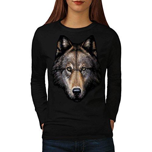 wild-wolf-animal-life-nature-women-new-black-m-long-sleeve-t-shirt-wellcoda