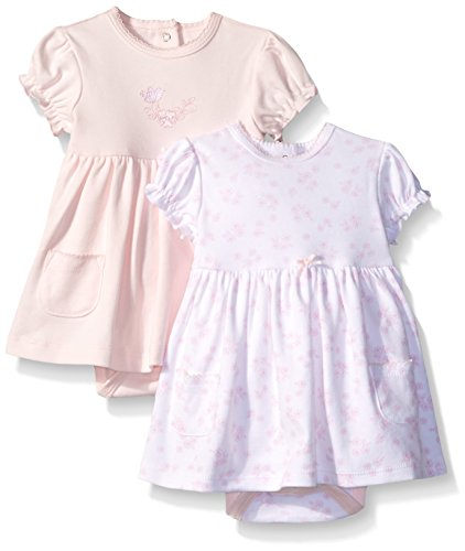 Little Me Baby Newborn Baby-Girls Sweet 2 Pack Cotton Bodysuit Dress, White/Pink, 3 Months