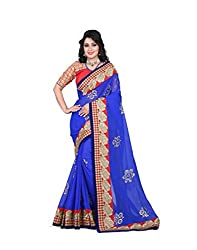 shreepati sarees Blue Chiffon Embroidered Work Party Wear Saree (SS05_Blue)