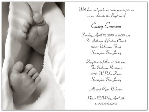 Baby Toes Baptism Christening Invitations - Set Of 20 front-996513