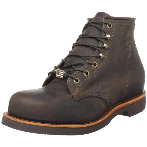 "Chippewa Men's 6"" Chocolate Apache Steel Toe Lace-Up Boot,Chocolate,6 D(M) US"