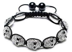 All-White Skull Shamballa Bracelet   White Shamballa Bracelet   White Alloy Skull Shamballa Bracelet   Clear Crystal Bangle Bracelet (By BAGATI CRYSTO)