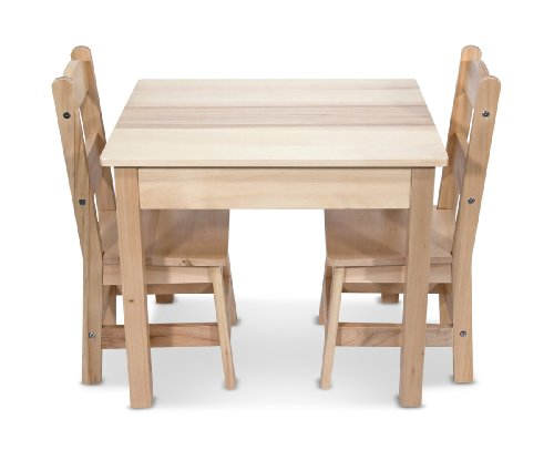 Melissa & Doug Solid Wood Table and 2