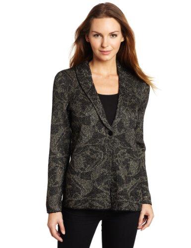 Jones New York Women's 1-Button Jacket Cardigan, Black/Antique Gold, Medium