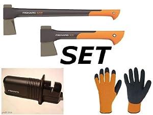 Fiskars Set Spaltaxt X25 +Axt X7 + Schärfer+ Handschuhe