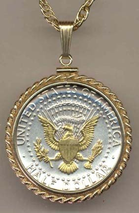 Reverse Kennedy Half Dollar Two Tone Rope Bezel U.S. Coin Pendant with 24