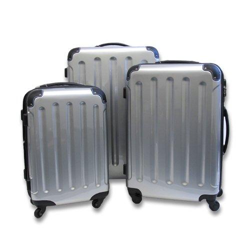 3er Set Hartschalen Kofferset silber Hochglanz