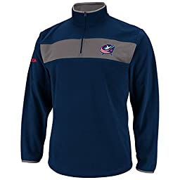 NHL Mens Columbus Blue Jackets Long Sleeve 1/4 Zip Micro Chiller By Majestic (Athletic Navy/Storm Gray, Large)