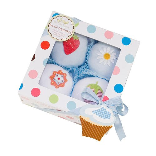 The Baby Bunch Cupcakes Box Of Four - Blue And White, 0-6 Months
