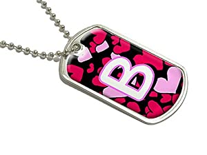 Letter B Initial Hearts - Military Dog Tag Luggage Keychain