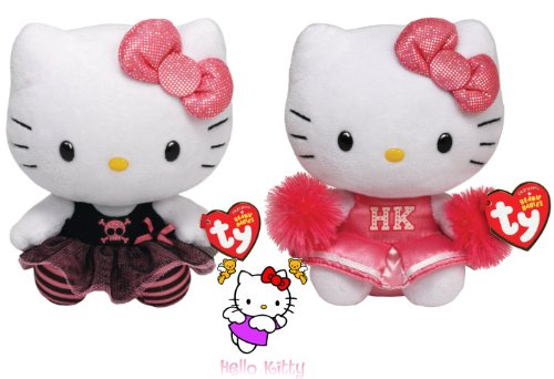 Ty Beanie Babies Hello Kitty Cheerleader & Punk Set Of 2 Plush Toys back-1079289