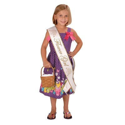 Flower Girl Satin Sash Party Accessory (1 count) (1/Pkg)