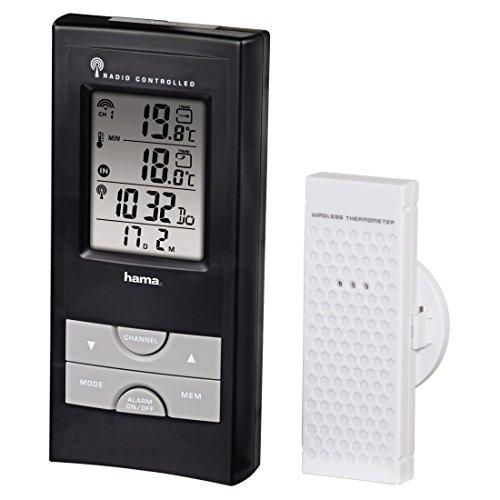 Hama-Funk-Wetterstation-EWS-165-Funkuhr-Wecker-Thermometer-und-Frostalarm-inkl-Auensensor-mit-30m-Reichweite-schwarz