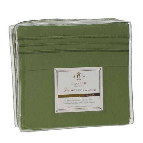 Clara Clark Premier 1800 Collection 4pc Bed Sheet Set - Queen Size, Calla Green