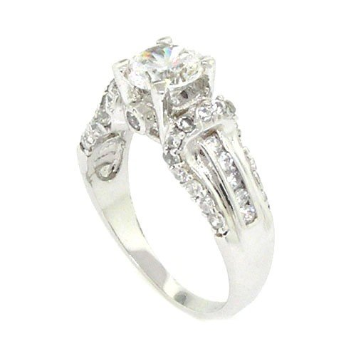 Sterling Silver Classic Engagement Ring w/Round Brilliant White CZ Size 7