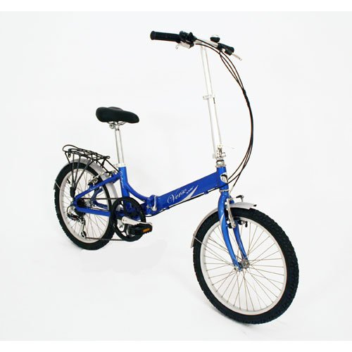Verso Cologne 7-Speed Aluminum Folding Bike, 20-Inch, Blue