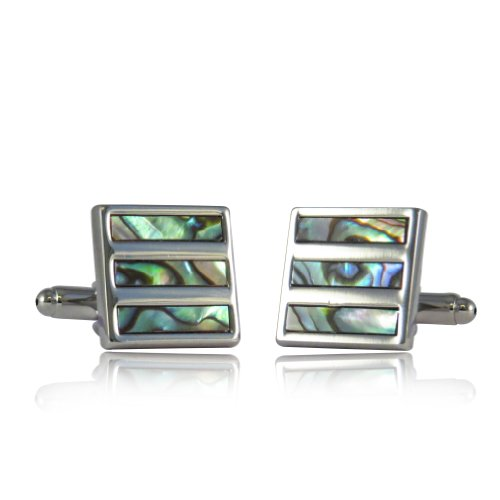 Abalone Shell Silver Cufflinks with Gift Box