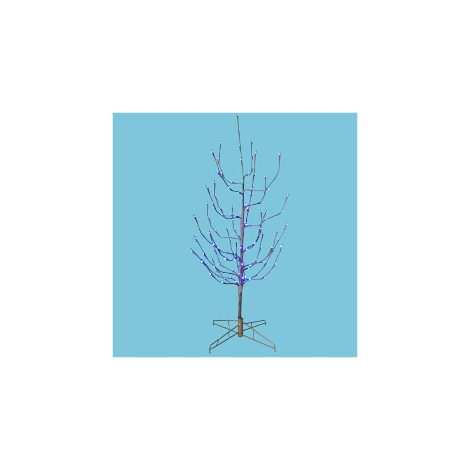 4 LED Pre Lit Brown Artificial Christmas Twig Tree   Purple Lights