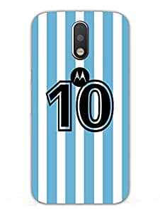 Jersey No. 10 - Argentina - For Messi Fans - Designer Printed Hard Back Shell Case Cover for Moto G4 Superior Matte Finish Moto G4 Cover Case