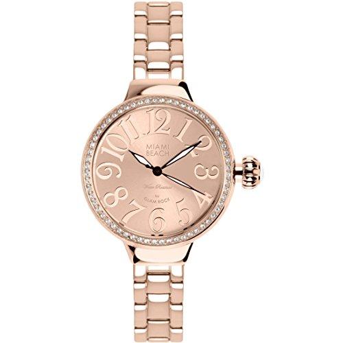 Glam Rock Art Deco de Miami Beach MBD27099-BR 36 mm caja de acero inoxidable de oro rosa y chapado en oro de Mineral de acero inoxidable reloj de las mujeres