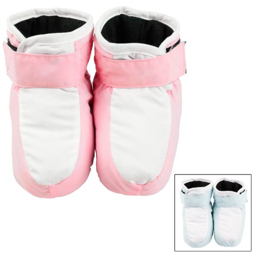 Velcro Fastening Baby Booties Blue Or Pink With
