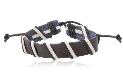 Fashion Brown White Leather Wrap Cuff Rasta Weave Bracelet Bangle Men's Jewelry