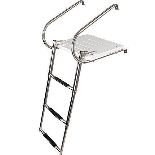 3-Step Telescoping Boat Ladder with Swim Platform & Handrails