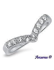 18ct Gold Pl. Wishbone Eternity Ring 0.75 Carat Lab Created Diamonds (P)