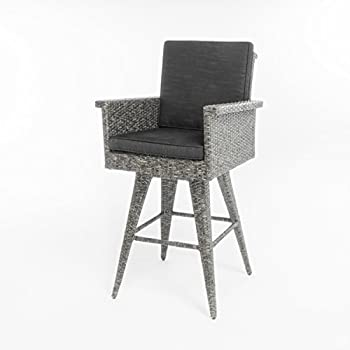 Venice Patio Furniture ~ 5 Piece Outdoor Wicker Dining / Bar Set (Black and Grey)