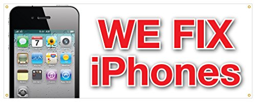 We Fix iPhones Banner Apple Computers Screens Battery Retail Store Sign 18x4