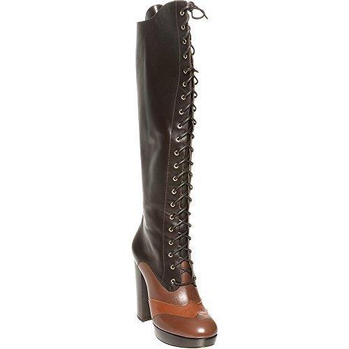 bally-mujer-con-cordones-botas-altas-a-rodilla-marron-mujer-38-eu