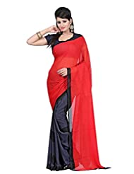 SRP Fashion Selection Women Faux Georgette Black And Red Saree (SRP-SAV-02)