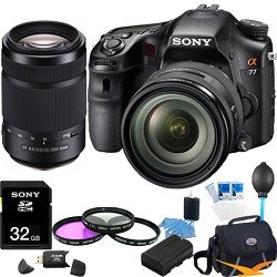 Sony SLTA77VQ a77 Digital SLR 24.3 MP with 16-50mm, 55-300 Ultimate Bundle
