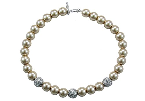 Glass Pearl Necklace Light Brown - 18