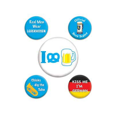 Oktoberfest Party Buttons (asstd designs)    (5/Pkg)