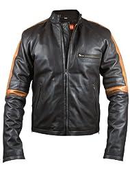 FactoryExtreme Showman Mens Brown Biker Leather Jacket, XX-Large, Brown