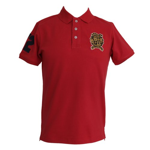 Brave Soul Mens 100% Cotton Summer Polo T-Shirt/Top (Large) (Red)
