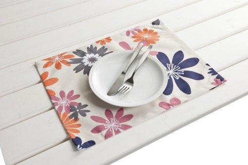 """4 Stück Outdoor TISCHSET """"Capri lila-orange"""" Placemat Gartentisch Tisch- Platzset abwaschbar 30cmx40cm günstig kaufen"""