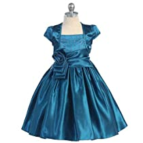 Chic Baby Teal Rose Flower Girl Dress Bolero Set Girls 4