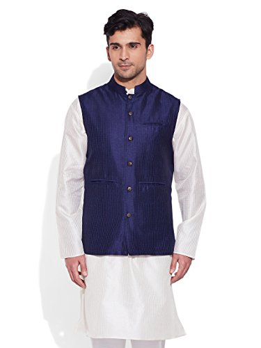 Very Me Men's Designer Navy Faux Silk Textured Nehru Jacket Size:- 48 / 4Xl  available at amazon for Rs.995