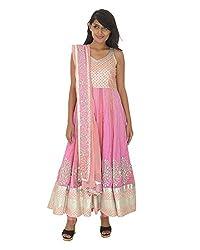 Gurpreet Kaur Women Brocade & Georgette Dress (D001, Pink, 36)