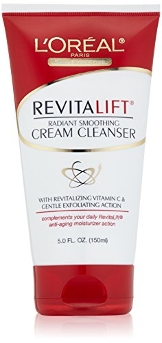 L'Oreal Paris discount duty free L'Oreal Paris RevitaLift Radiant Smoothing Cream Cleanser, 5.0 Fluid Ounce