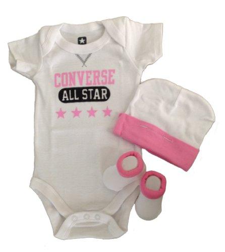 Converse Baby Bodysuit, Booties & Cap 3 Pcs Set
