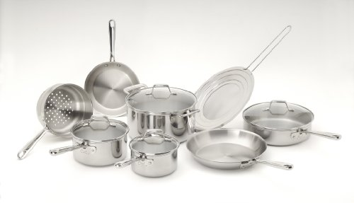 Emeril by All-Clad E914SC64 PRO-CLAD Tri-Ply Stainless Steel Dishwasher Safe 12-Piece Cookware Set, Sliver