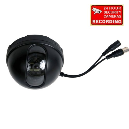 VideoSecu Dome Security Camera Color CCD DSP CCTV 3.6mm Wide Angle Lens for DVR Home Surveillance System with Bonus Warning Decal WA9
